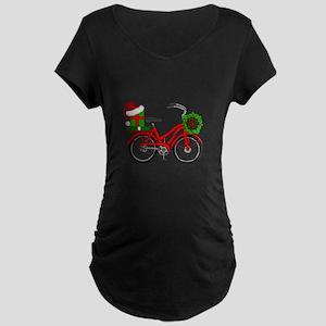 Christmas Bicycle Maternity T-Shirt
