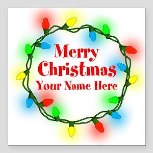 "Christmas Lights Square Car Magnet 3"" x 3"""
