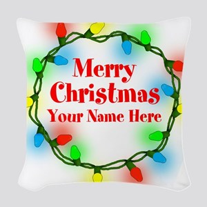 Christmas Lights Woven Throw Pillow