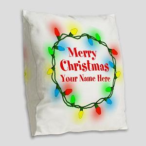 Christmas Lights Burlap Throw Pillow