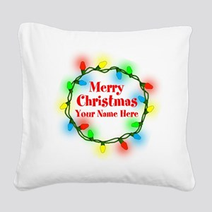 Christmas Lights Square Canvas Pillow