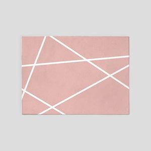 Blush pink Geometric Pattern 5'x7'Area Rug
