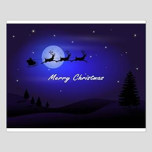 Reindeer pulling Santa's Sleigh Posters