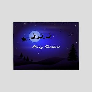 Reindeer pulling Santa's Sleigh 5'x7'Area Rug