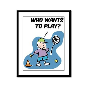 Framed Panel with Funny tennis Print