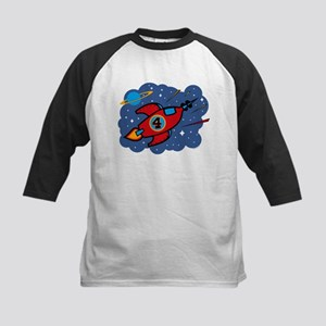 Rocket Ship 4th Birthday Kids Baseball Jersey
