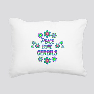 Peace Love Gerbils Rectangular Canvas Pillow