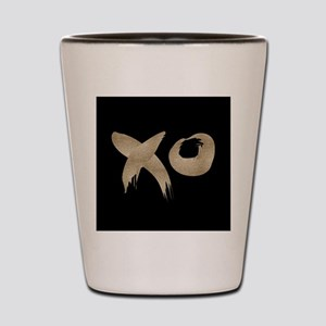 brushstroke black gold XOXO Shot Glass