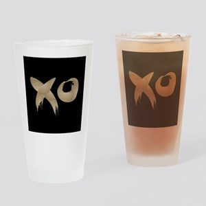brushstroke black gold XOXO Drinking Glass