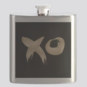 brushstroke black gold XOXO Flask