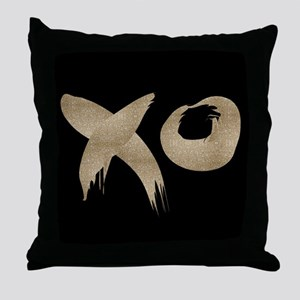 brushstroke black gold XOXO Throw Pillow