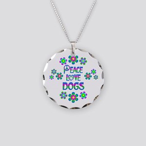 Peace Love Dogs Necklace Circle Charm