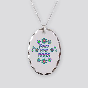 Peace Love Dogs Necklace Oval Charm