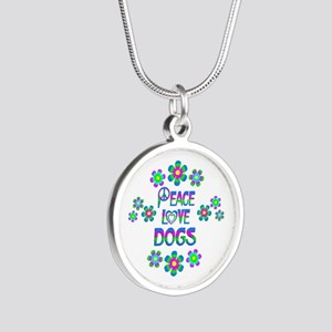 Peace Love Dogs Silver Round Necklace