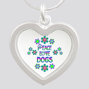 Peace Love Dogs Silver Heart Necklace
