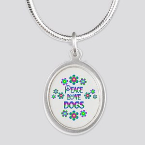 Peace Love Dogs Silver Oval Necklace