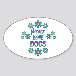 Peace Love Dogs Sticker (Oval)