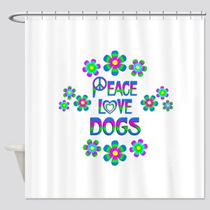 Peace Love Dogs Shower Curtain