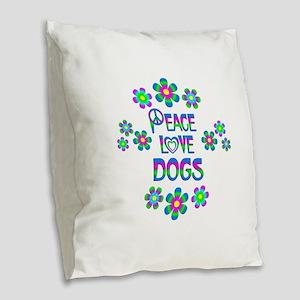 Peace Love Dogs Burlap Throw Pillow