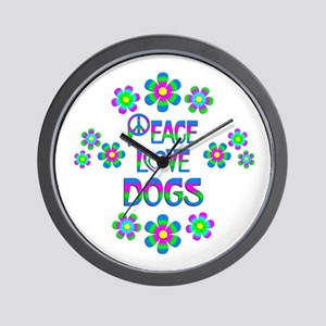 Peace Love Dogs Wall Clock