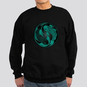 Teal Blue and Black Yin Yang Koi Fish Sweatshirt