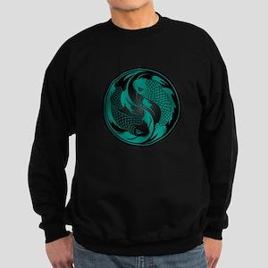 Teal Blue and Black Yin Yang Koi Fish Sweatshirt