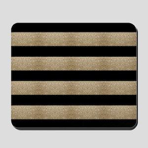 chic black gold stripes Mousepad