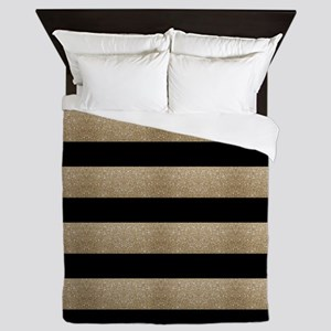 chic black gold stripes Queen Duvet
