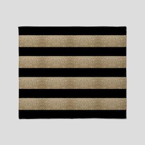 chic black gold stripes Throw Blanket