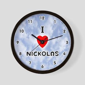I Love Nickolas (Black) Valentine Wall Clock