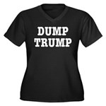 Dump Trump L Women's Plus Size V-Neck Dark T-Shirt