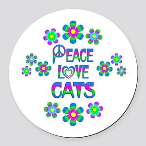 Peace Love Cats Round Car Magnet