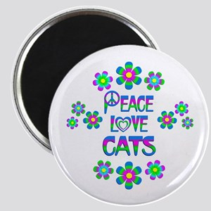 Peace Love Cats Magnet