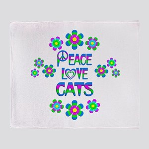 Peace Love Cats Throw Blanket