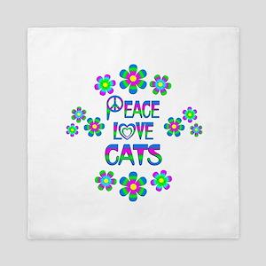 Peace Love Cats Queen Duvet