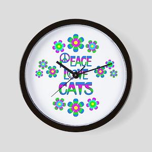 Peace Love Cats Wall Clock