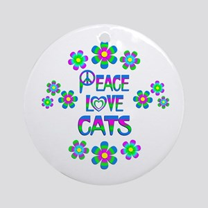 Peace Love Cats Round Ornament