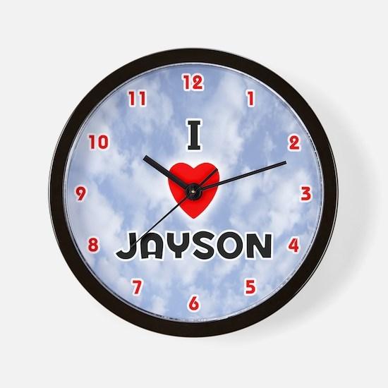 I Love Jayson (Red/Blk) Valentine Wall Clock