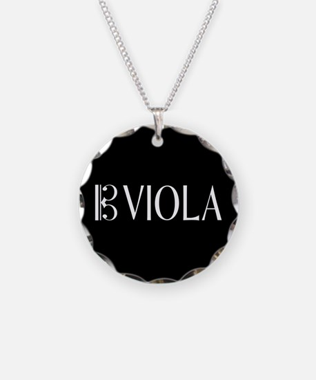 Viola with Alto Clef in Blac Necklace Circle Charm