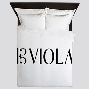 Viola with Alto Clef in Black & White Queen Duvet