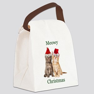 Meowy Christmas Kitten Canvas Lunch Bag