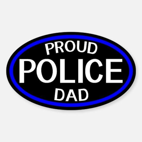 Police: Proud Dad (The Thin Blue Li Sticker (Oval)