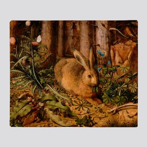 A Hare in the Forest by Hans Hoffmann Throw Blanke