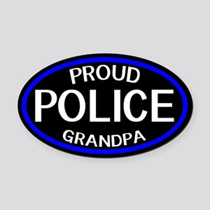 Police: Proud Grandpa (The Thin Bl Oval Car Magnet