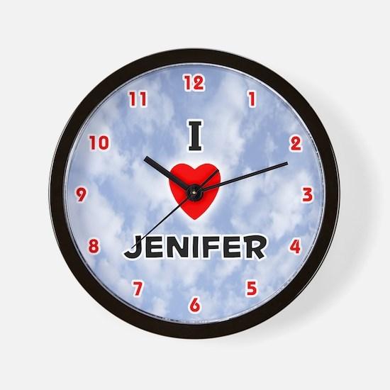 I Love Jenifer (Red/Blk) Valentine Wall Clock