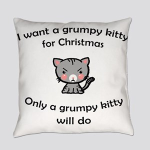 Grumpy Kitty for Christmas Everyday Pillow