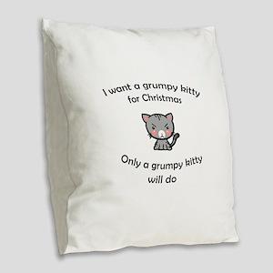 Grumpy Kitty for Christmas Burlap Throw Pillow