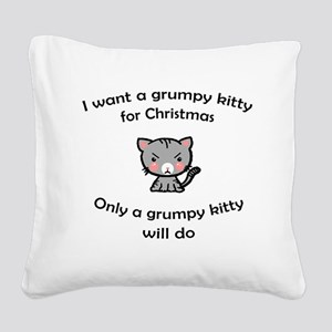 Grumpy Kitty for Christmas Square Canvas Pillow