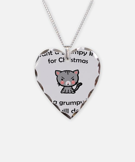 Grumpy Kitty for Christmas Necklace