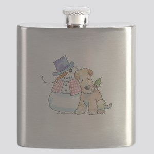 Soft Coated Wheaten Terrier and Snowman Flask